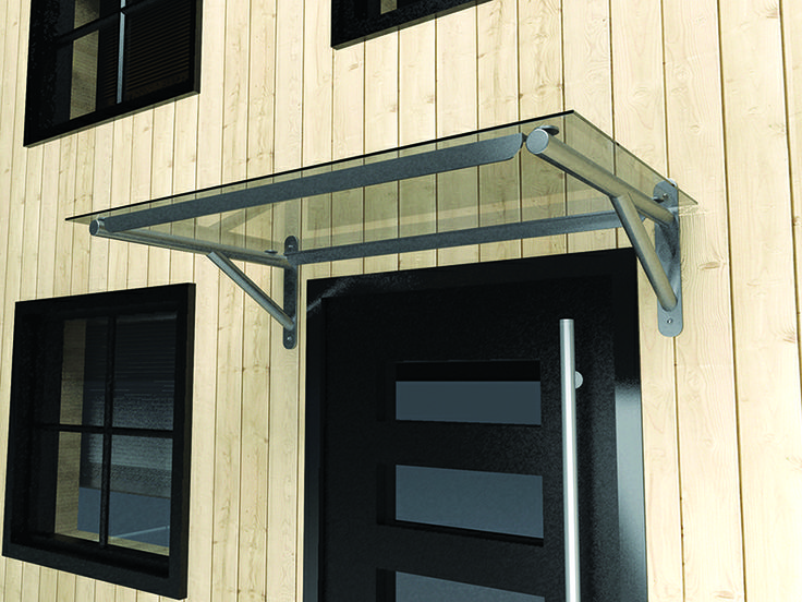 Flat polycarbonate door canopy with gallows brackets. Made to fit any doorway