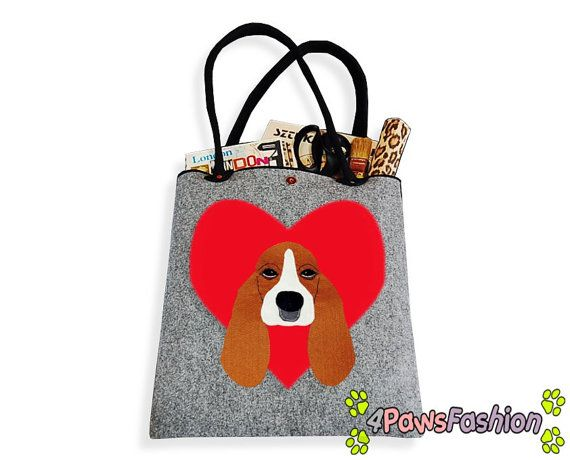 Basset Felt Tote. Handmade Shoulder Bag. Long Handles. Dog Design. Everyday use. 4PawsFashion