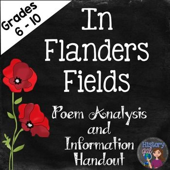 """In Flanders Fields (A World War 1 Poetry Analysis)John McCrae wrote """"In Flanders Fields' in 1915 after the Second Battle of Ypres during World War 1. This analysis ties in perfectly to a World War I lesson or a Remembrance Day lesson.Included:- the poem """"In Flanders Fields"""" (1 page)- poem analysis worksheet and key (2 pages)- Draw It activity and key (2 pages)- background handout that gives more information on the poem, John McCrae, the Second Battle of Ypres, and Remembrance Day (1 page)…"""