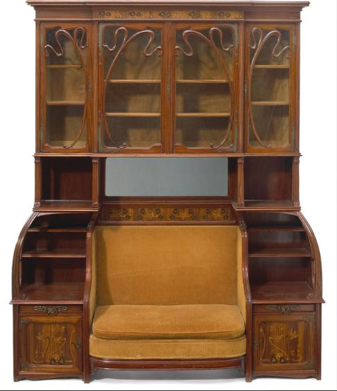 France. marquetry cabinet/settee ca.1900 // Louis Marjorelle