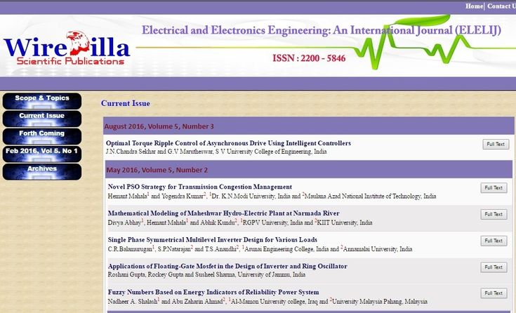 Electrical and Electronics Engineering: An International Journal (ELELIJ)    ISSN : 2200 - 5846    http://wireilla.com/engg/eeeij/index.html