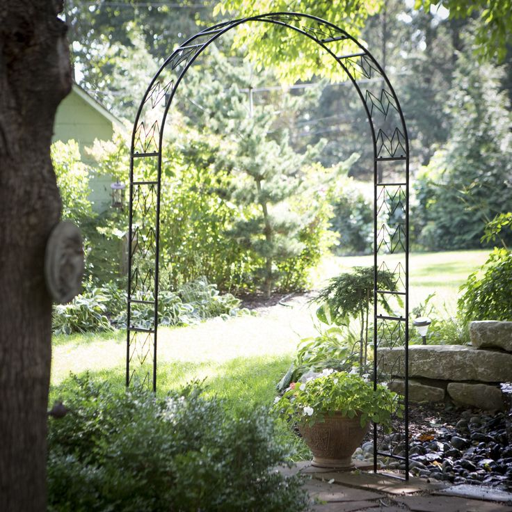 Coral Coast Chevron Arch Metal Arbor - Make your backyard the most fashionable place to be with the Coral Coast Chevron Arch Metal Arbor. Constructed of durable iron, this arbor has a class...