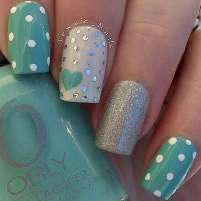 Lightskyblue polka dots and glitter nails