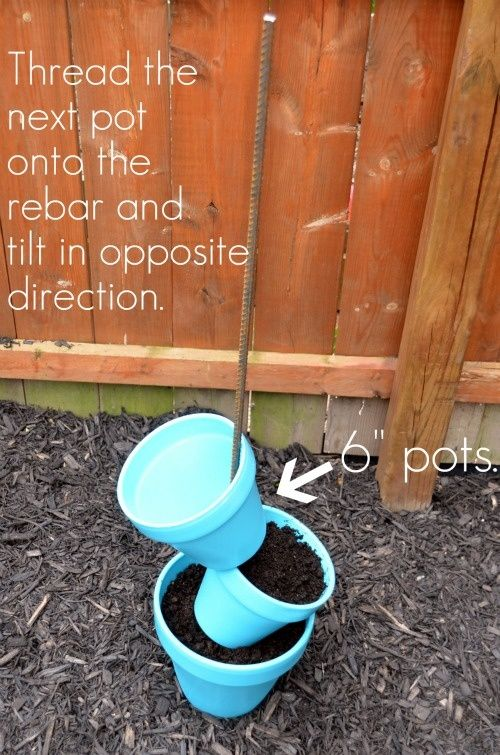 This would be great in my yard this summer!Garden Planters, Diy Gardens, Bird Baths, This Summer, Vertical Herb Gardens, Herbs Gardens, Flower Pots, Birds Bath, Stacked Pots
