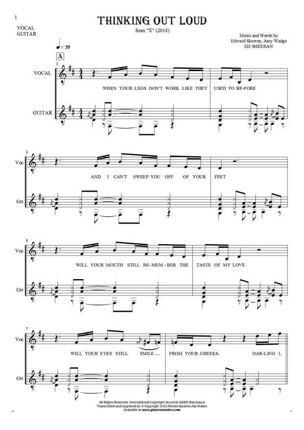Thinking Out Loud sheet music by Ed Sheeran. From album X (2014). Part: Notes and lyrics for vocal with guitar accompaniment.