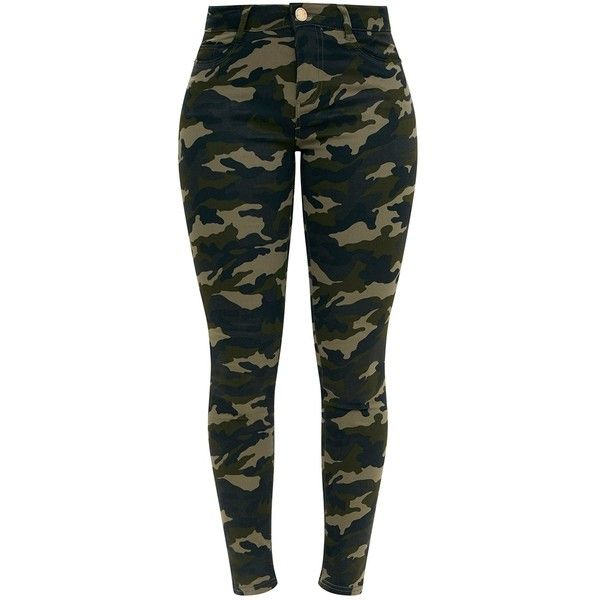 Khaki Camouflage Skinny Jeans ($50) ❤ liked on Polyvore featuring jeans, skinny fit jeans, camoflage jeans, camouflage skinny jeans, cut skinny jeans and camo jeans