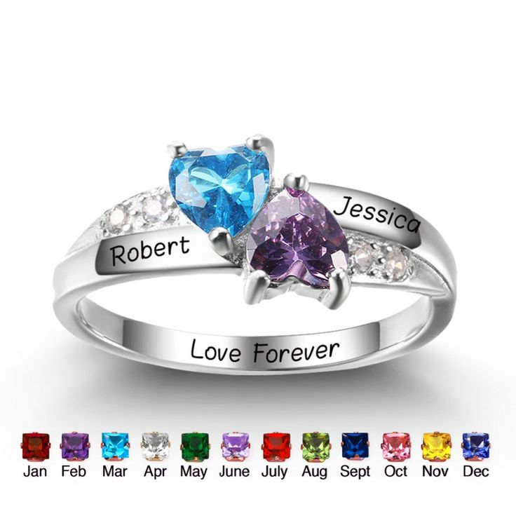 Express your love with this stunning 2 heart gemstones crown design promise ring!