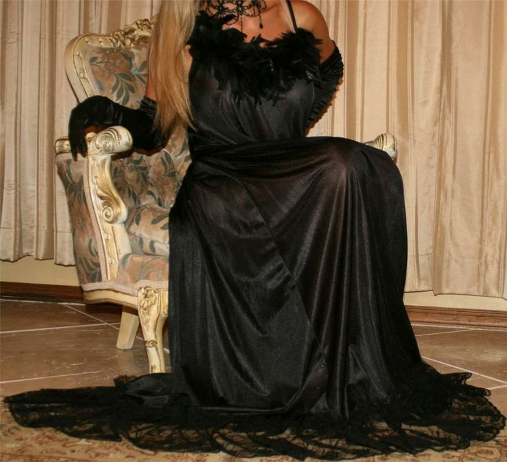 Sheer Black Nightgown and Black Satin Gloves