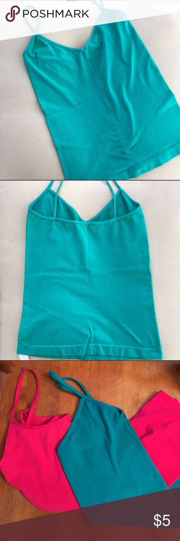 Women's camisole Green cami, nylon and spandex so it is very stretchy. Will sell pink and green cami together for $10 Tops Camisoles