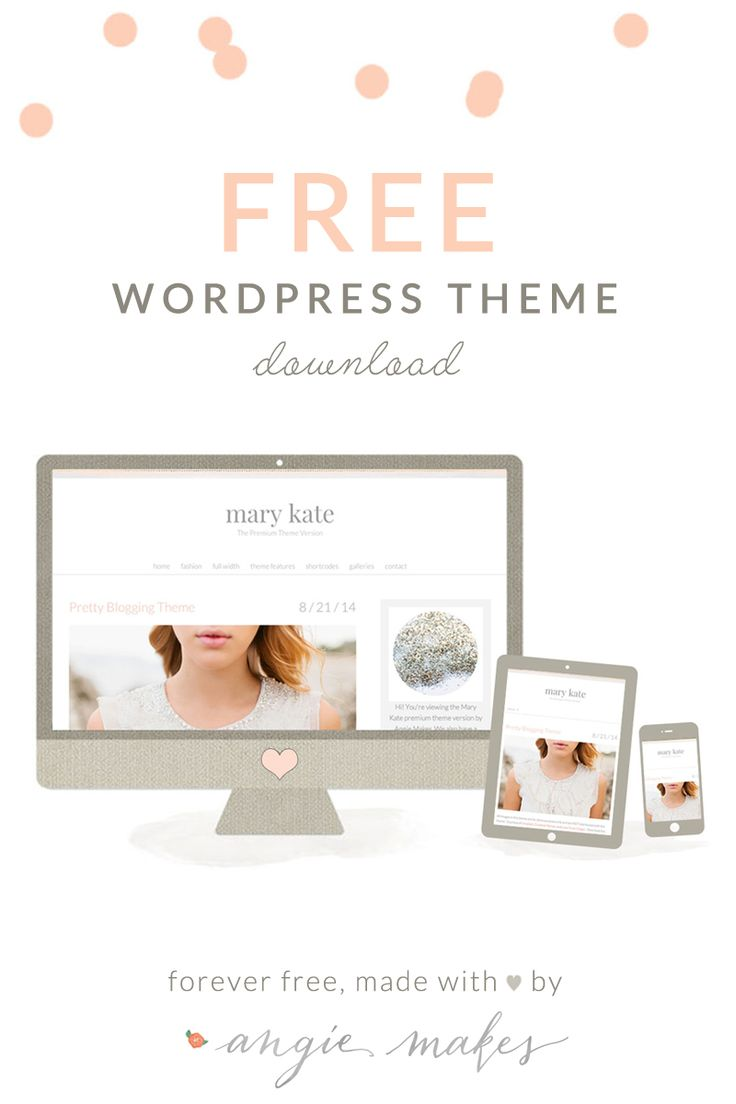 Meet the Mary Kate- a Free Feminine Wordpress Theme for Women Bloggers by Angie Makes. This Free Theme Features a Minimal, Feminine Design for Women.