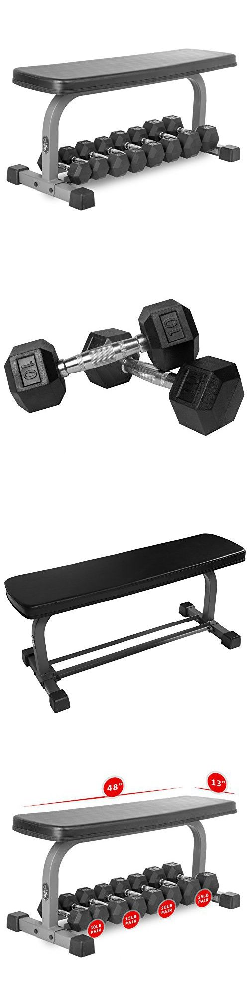 XMark Wide Base Flat Utility Bench With Dumbbell Storage and 140 lbs. of XMark Premium Quality Rubber Coated Hex Dumbbells