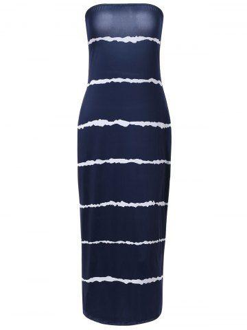 Stylish Strapless Slimming Striped Design Dress For Women