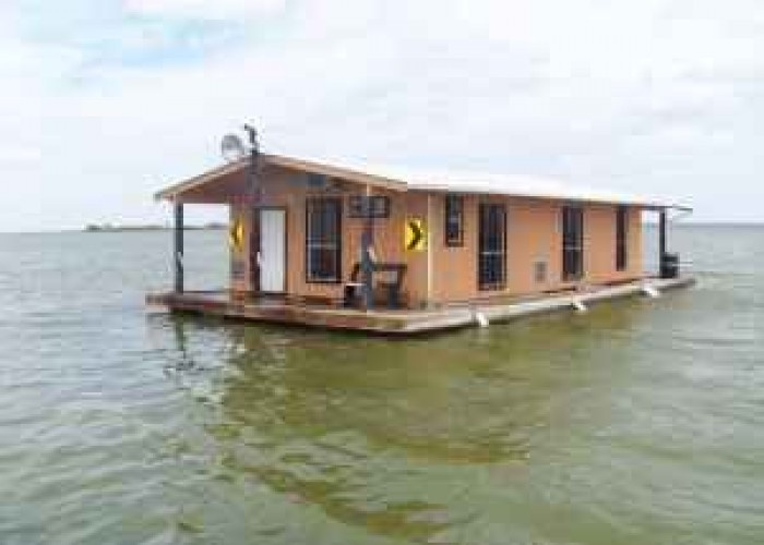 Floating Cabin Upper Laguna Madre Near Baffin Bay