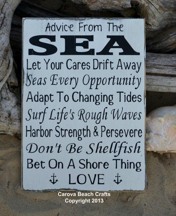 Beach Decor - Beach Sign - Beach Wedding Sign - Anchor - Wood  Wall Hanging - Advice From The Sea - Nautical Coastal Ocean Decor - Rustic on Etsy, $40.00