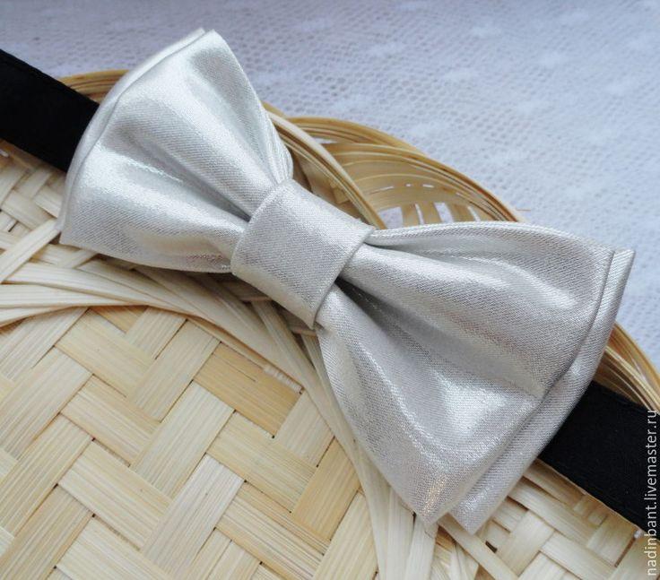 """Купить Галстук бабочка """" Блестящая"""" - белый, однотонный, блестящий, блестящий белый, блестящий галстук"""