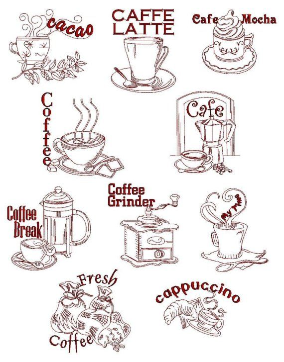 Red Work Coffee Break Embroidery Designs. This link doesn't work but I can use these for ideas