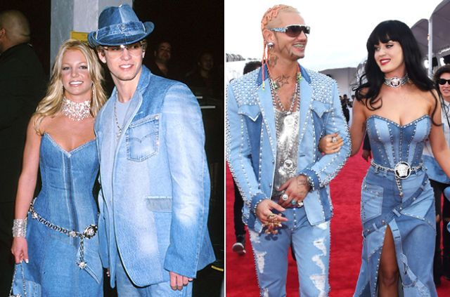 At last year's festivities, Perry and Riff Raff arrived in a double denim look that was totally reminiscent of the matching Canadian tuxedos donned by Britney Spears and Justin Timberlake in 2002.   - MarieClaire.com