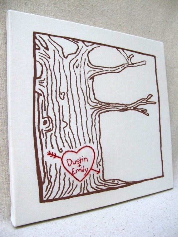 Custom heart -- tree print wall art -- personalized with your names or initials, $32