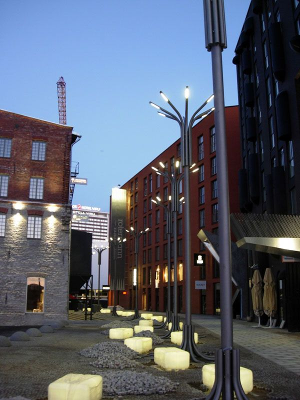 Street lamps and illuminated benches in the Rotterdam Quarter, Talinn, Estonia.