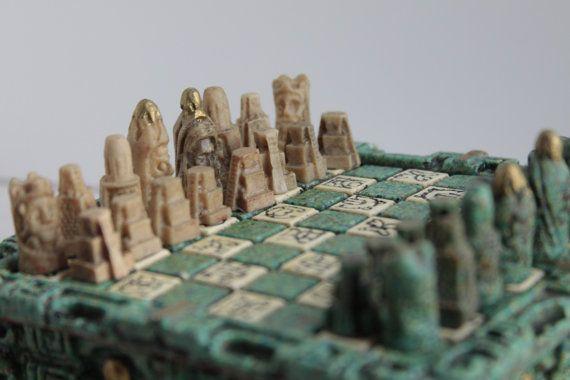 Vintage carved chess set vintage El Arte Azteca by Fleaosophy, $55.00
