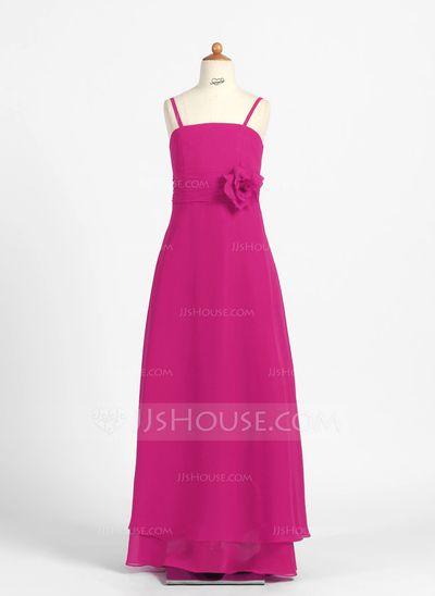 Junior Bridesmaid Dresses - $83.99 - A-Line/Princess Floor-Length Chiffon Junior Bridesmaid Dress With Flower(s) (009022484) http://jjshouse.com/A-Line-Princess-Floor-Length-Chiffon-Junior-Bridesmaid-Dress-With-Flower-S-009022484-g22484?ver=xdegc7h0