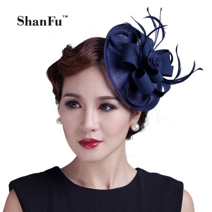 ShanFu Lady Sinamay Fascinator Hat Girls Pillbox Hat with Clip Vintage Polyester Cocktail Headpiece Navy Black SFC12386