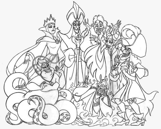 Disney Villains Group Coloring Page Disney Coloring Pages Cartoon Coloring Pages Coloring Pages