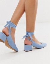 DESIGN Steps tie leg mid heels in pale blue