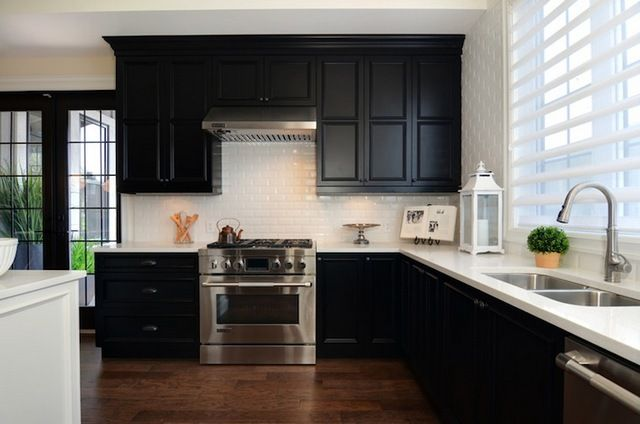 Subway tile backsplash, White subway tile backsplash and Dark cabinets
