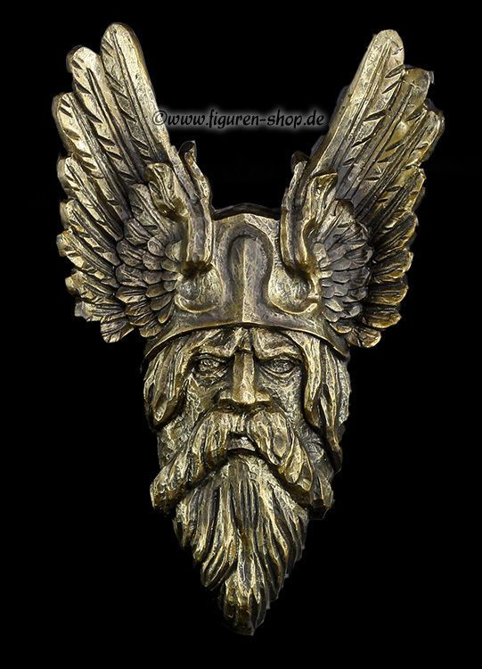 Odin Wandrelief - bronzefarben - Haus Schutz Symbol - Deko Figur Wikinger