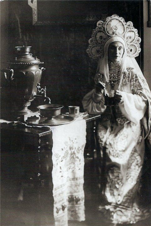 Russian Empire ballerina Anna Pavlova (1881-1931) in a traditional Russian gown.