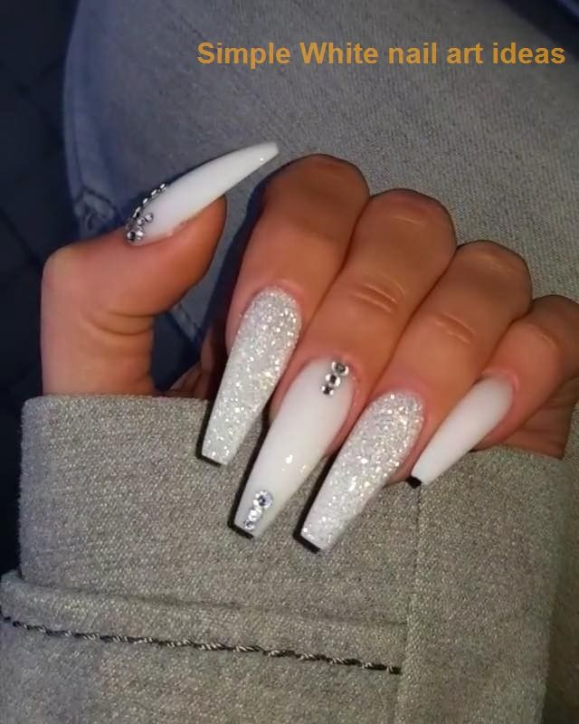 30 Simple Trending White Nail Design Ideas 1 Nailideas In 2020 White Acrylic Nails Nails Design With Rhinestones Pretty Acrylic Nails