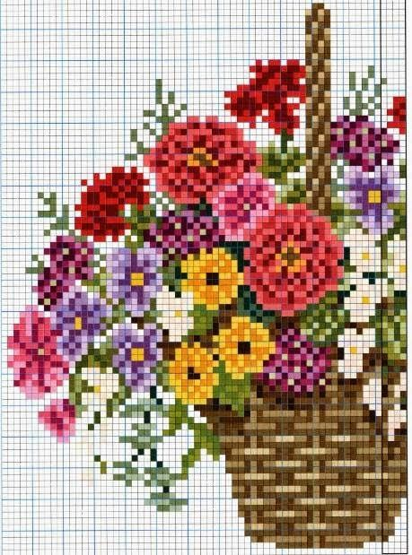 Χειροτεχνήματα: Καλάθια με λουλούδια για κέντημα / Cross stitch baskets of flowers