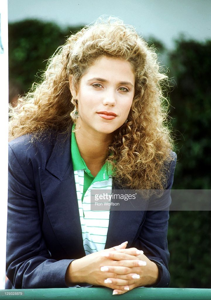 1991. Elizabeth Berkley on the set of 'Saved By The Bell' at the Bel-Air Bay Club in Pacific Palisades on August 20, 1991 in Los Angeles, California