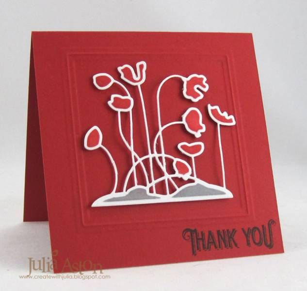 Thank you card using the Poppy Patch Spellbinders die