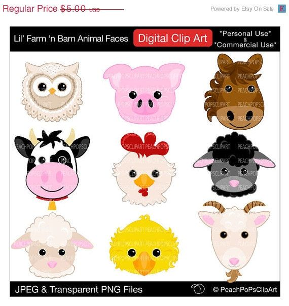50 OFF SALE Barn Animal Faces Digital Clipart By Peachpopsclipart 250