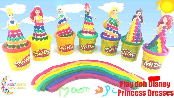 DIY How Make Super Glitter Play Doh Disney Princess Dresses Ariel Elsa A...