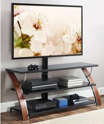 Glass Tv Stand Black Tempered 3 In 1 Swivel Mount 65 In Open Shelves