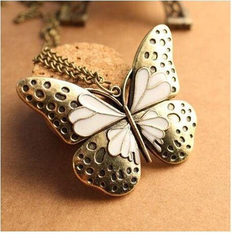 Новый корейский небольшой ювелирных изделий ретро личности гладкий животных ожерелье бабочка капает тяжелая ожерелье N86 купить на AliExpress