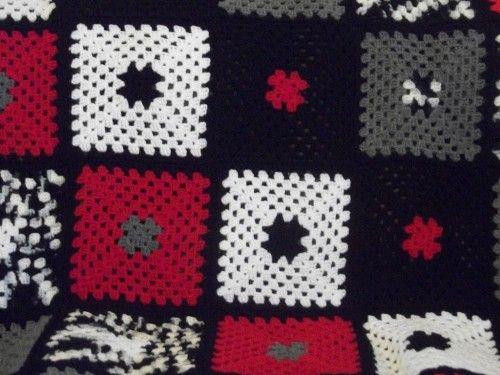 Inspiration-Red,White & Black- Granny Square Afghan ...
