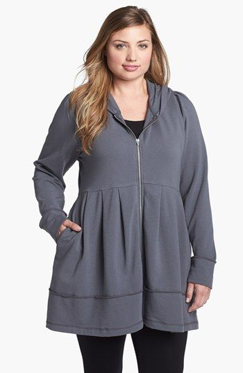 Pink Lotus Pleated Tunic Hoodie (Plus Size) available at #Nordstrom