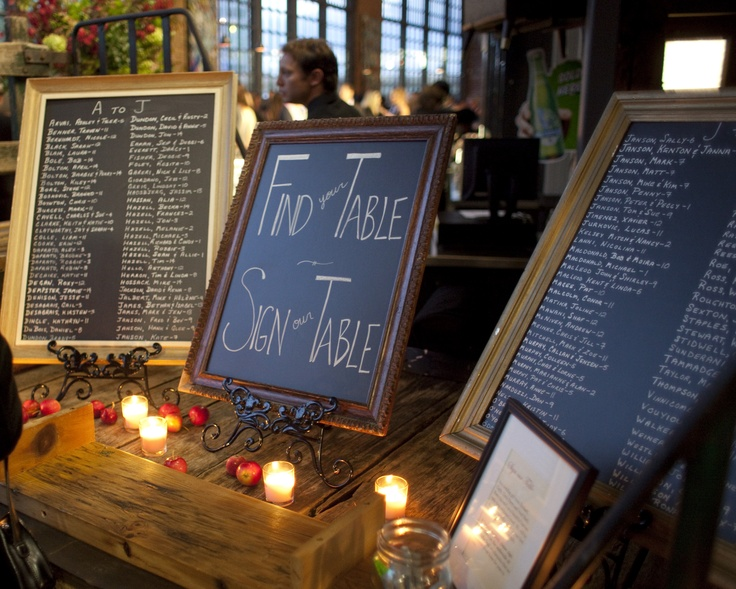 Chalk boards and place card seating for a wedding at the Steam Whistle Brewery, Toronto, Canada with A to Z Event Management