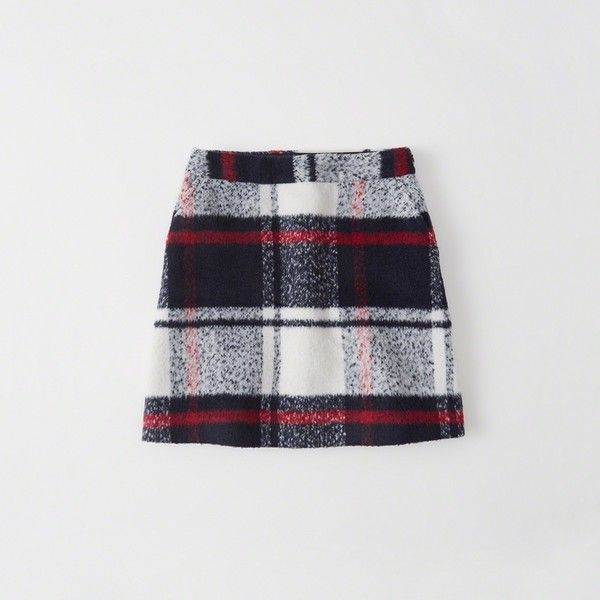 Abercrombie & Fitch Plaid A-Line Mini Skirt ($48) ❤ liked on Polyvore featuring skirts, mini skirts, white plaid, white a line mini skirt, plaid miniskirts, plaid skirt and tartan miniskirts