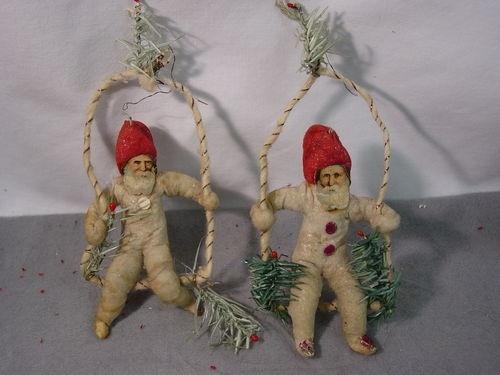 german cotton christmas ornament | ... for Christmas! / 2Vintage Cotton Santas Doll Ornaments German | eBay
