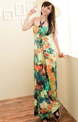 Groene lange jurk