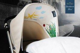 Jeden Tag Sonnenschein im Kinderwagen: mit dem austauschbaren Innenverdeck mit Sonne, Blumenwiese, Schmetterling und Marienkäfer wird jeder Kinderwagenbezug - ob Bugaboo oder andere Marken - individuell verwandelt. Das perfekte Geschenk zur Geburt: wunderschöne Kinderzimmer to go.Einfach mit Klettverschluss befestigen. Babys schönstes Spielzeug! Tolle Ergänzung zur Kinderwagenkette.