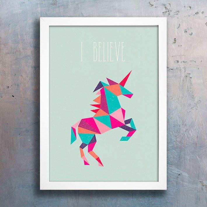 Poster Unicorn - I Believe. Encadreé Posters