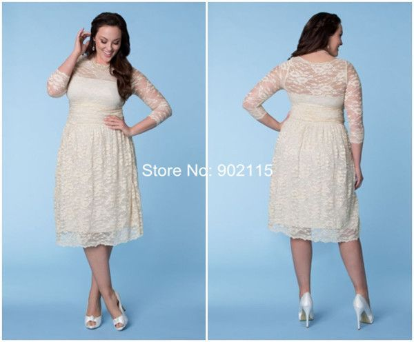 Cool Wedding Dresses Tea length plus size short lace wedding dresses for fat woman with sleeves in du... Check more at http://24store.tk/fashion/wedding-dresses-tea-length-plus-size-short-lace-wedding-dresses-for-fat-woman-with-sleeves-in-du/