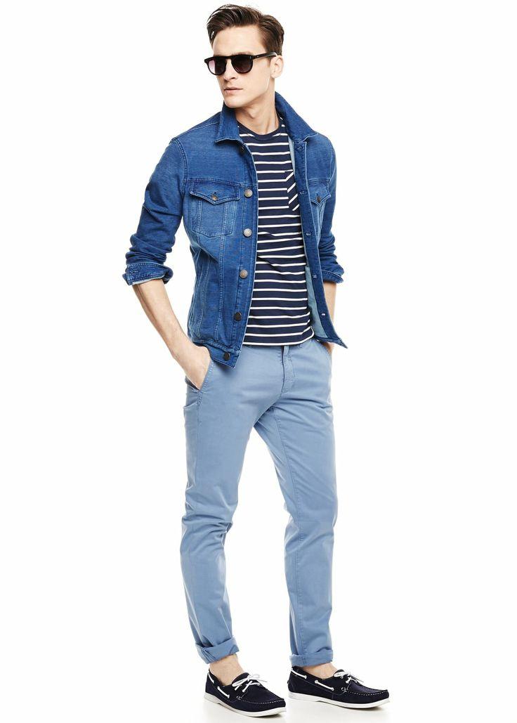 Denim-effect jersey jacket - Men - H.E. BY MANGO
