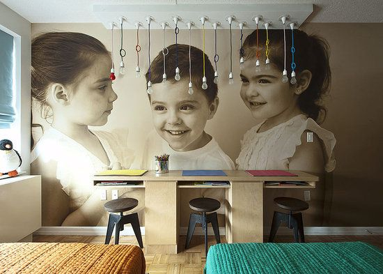I fell in LOVE with this- I like the unconventional decorating of Bob & Courtney Novagratz...and blowing up this professional picture to wall-paper size for a set of triplet's...INCRED!